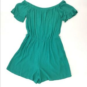 New York & Company Green OffShoulder Romper Size L